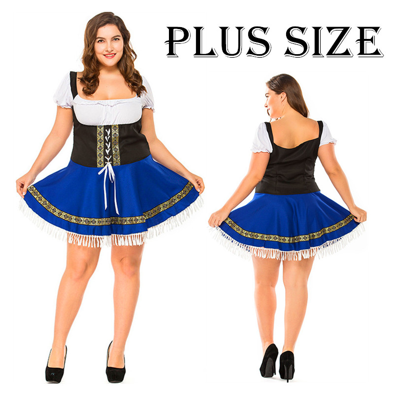 German Bavarian Oktoberfest Beer Wench Costume Heidi Fancy Dress Blue
