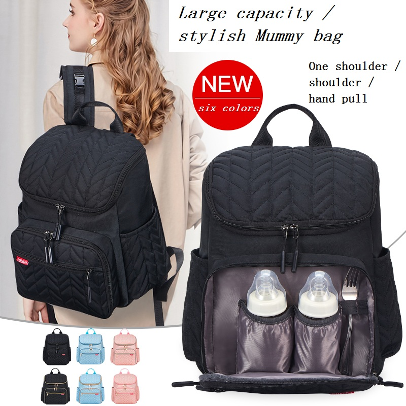 Embroidery Multi-function Large-capacity Mummy Bag Travel Out Package Wet And Dry Separation Baby Care Women's Fashion Bag