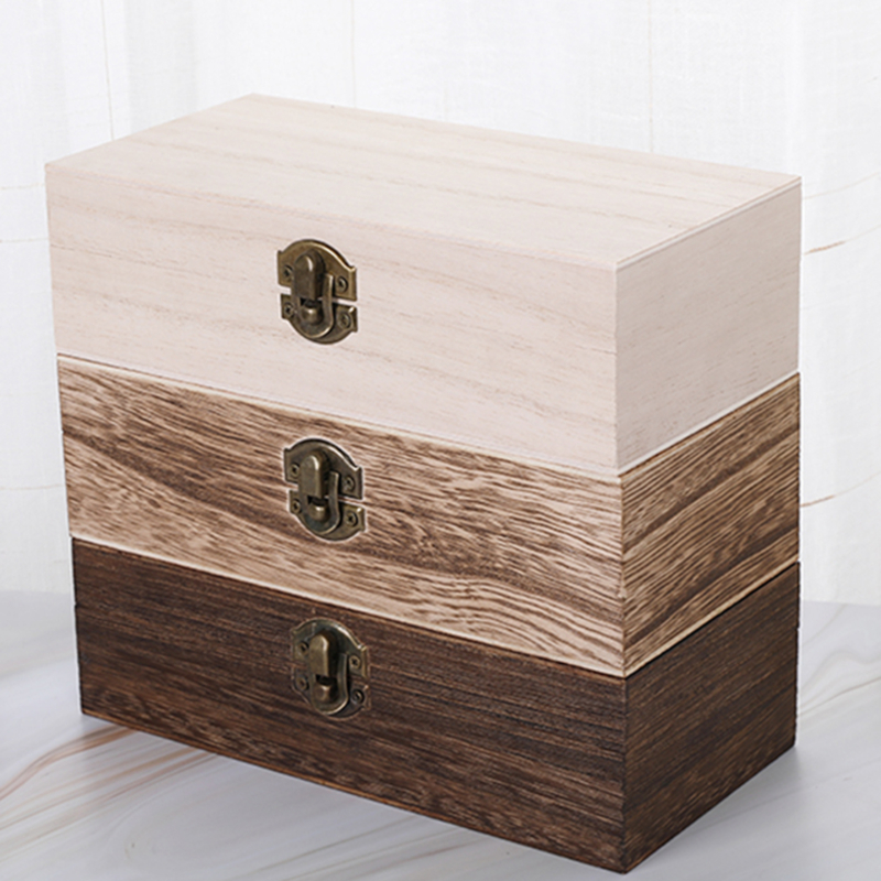 New Retro Jewelry Box Desktop Natural Wood Clamshell Storage Hand Decoration Wooden Box Postcard Storage Box