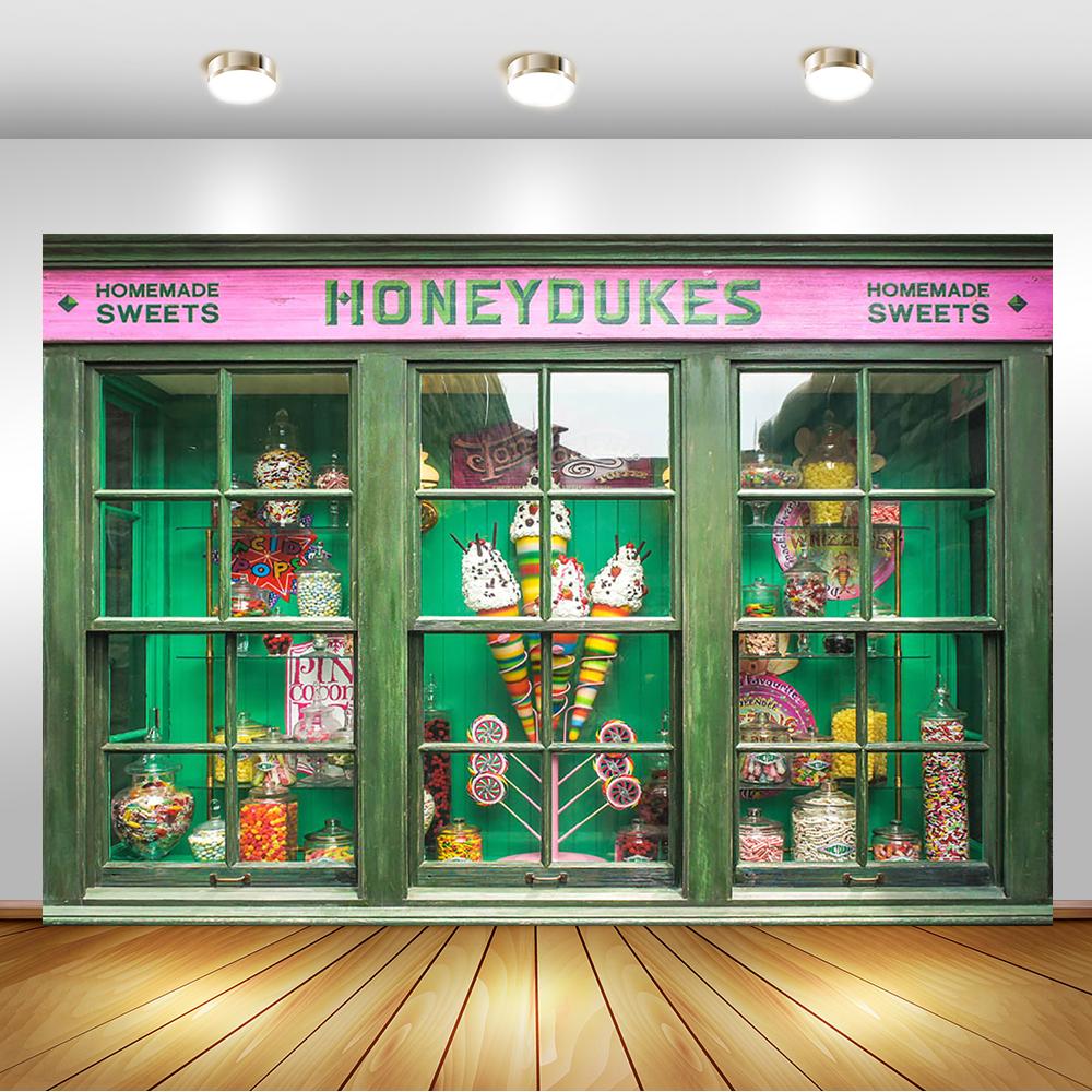 Homemade Sweet Candy Store Photography Backdrops Honey Dukes Lollipop Children 1th Birthday Backgrounds for Photo Studio