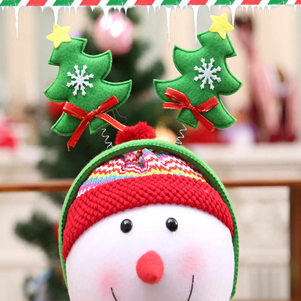 Bt21-bts Natal Kepala Band Lucu Pohon Natal Kepala Hoop Natal Aksesoris Rambut untuk Bayi Perempuan Kecil Bell 20*24 Cm