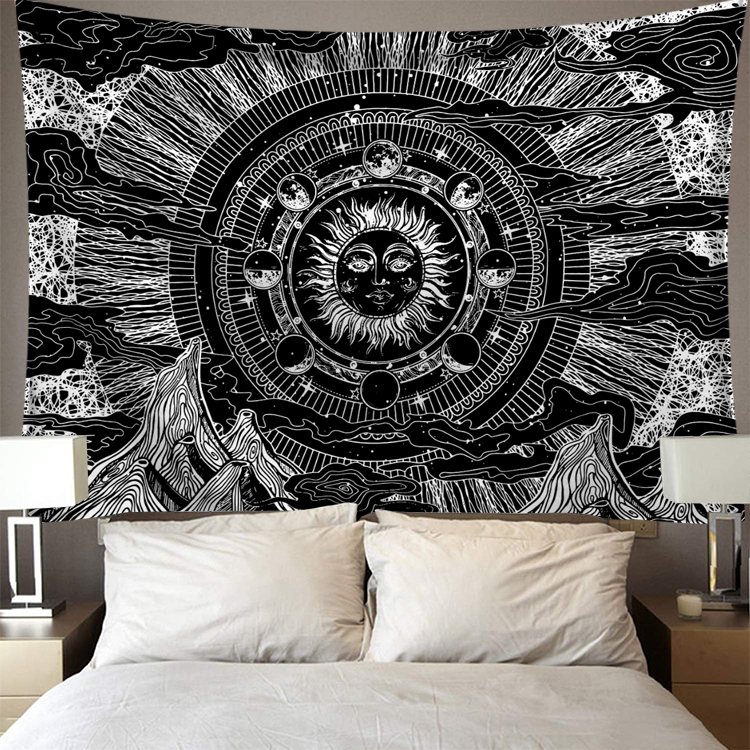 95 73 Cm Wall Hanging Polyester Tapestry Lion Moon Starry Pattern Blanket Tapestry Home Decoration Decorative Tapestries Aliexpress
