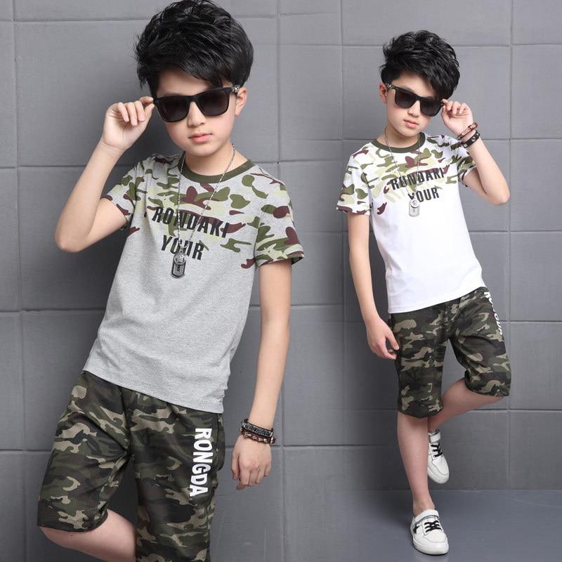 Boys' Camouflage Shirt-Short Sets