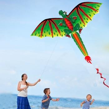 Divertido juego Dragon Kite regalos para niños salida familiar deportes al aire libre actividad voladora clásica 3D línea única linda con cola portátil