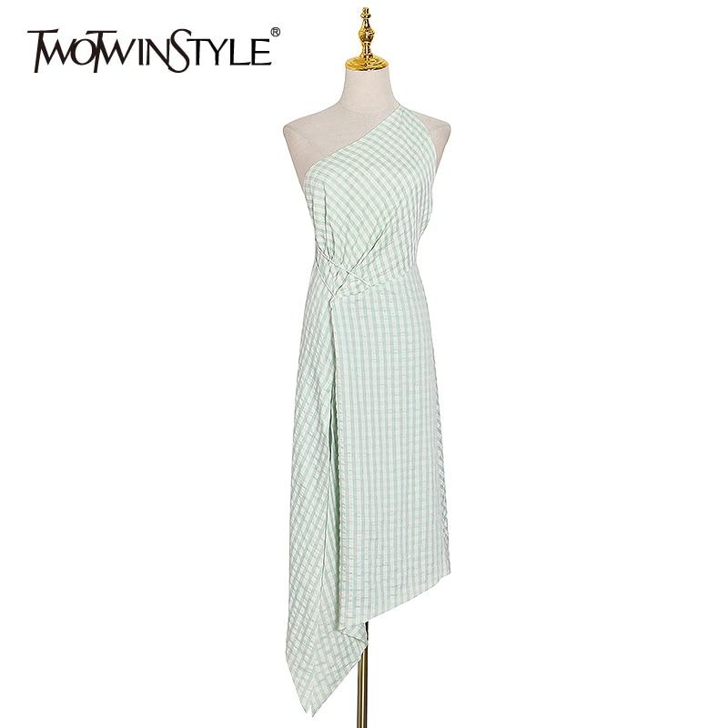 TWOTWINSTYLE Elegant Asymmteircal Dresses Female Skew Neck Sleeveless Backless High Waist Lace Up Irregular Hem Dress Women Tide