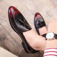 New Italian Men Shoe Tassel Loafers Men Shoes Oxford Business Wedding Men Leather Formal Dress Shoes Chaussures De Ville Homme