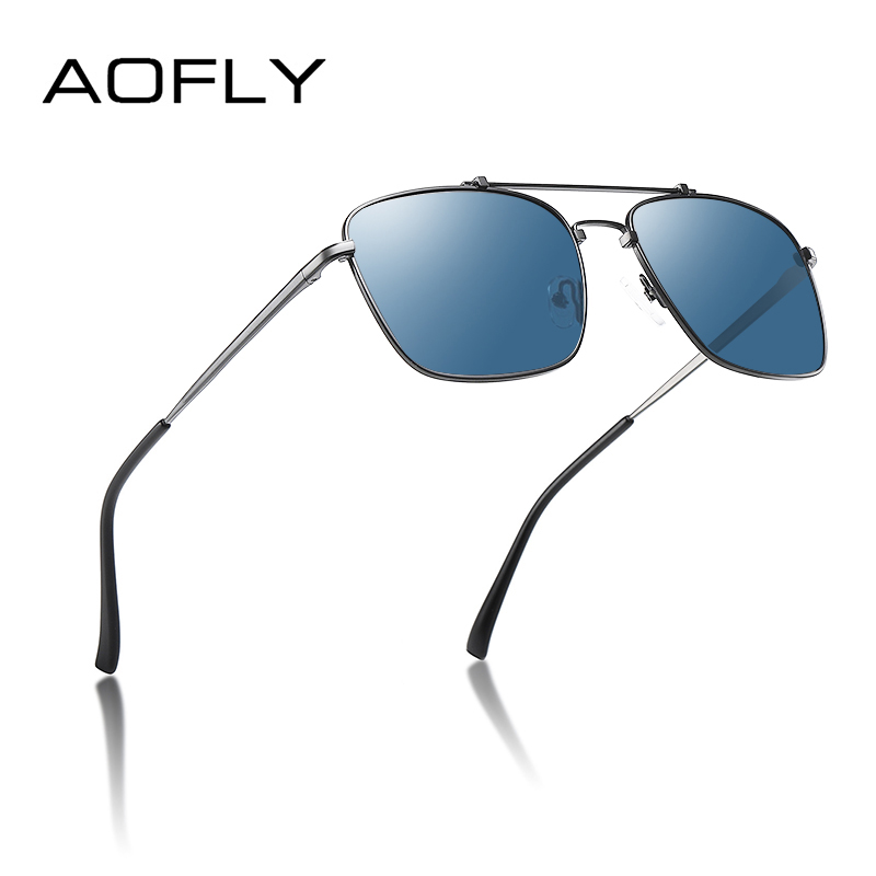 AOFLY BRAND DESIGN Square Polarized Sunglasses Men Women Metal Frame Anti-Glare Fashion Driving Fishing Sun Glasses Male UV400