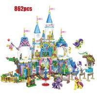 legoinglys Lovely Fairy tale friendship castle building block rainbow little horse Pegasus Unicorn figures bricks toys for gift