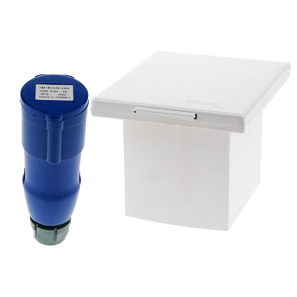 RV Camper 220V-240V 16A External Flush Hook Up Waterproof  Plug Socket