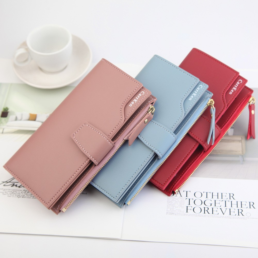 Elegant Women Leather Long Wallet Buckle Strap Zipper Clutch Bag Female Three Layers Wallets Versatile Money Cards Bags Purses