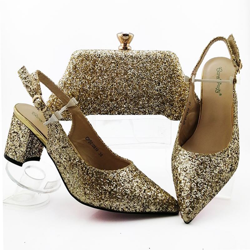 Nice gold women sandal shoes with