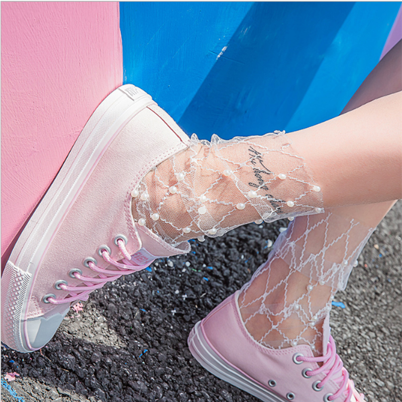 Sexy Lace Mesh Fishnet Socks Transparent Stretch Elasticity Fiber Ankle Women Pearl Ultra-thin Cool Socks Streetwear