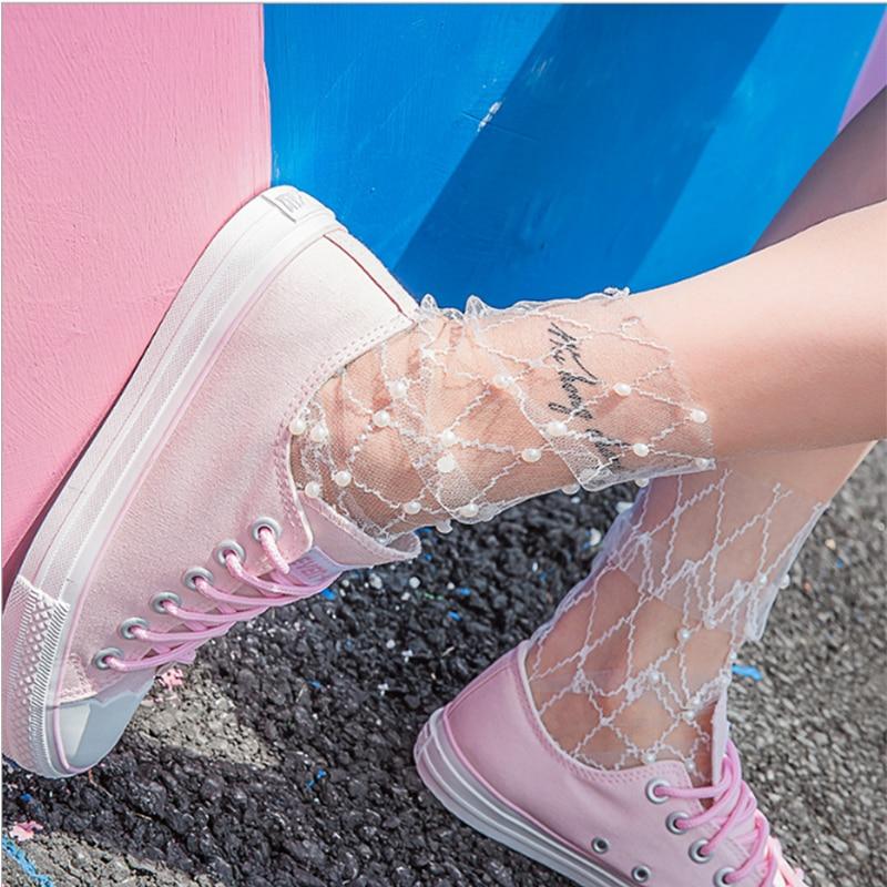 Sexy Lace Mesh Fishnet Socks Transparent Stretch Elasticity Fiber Ankle Women Pearl Ultra-thin Cool Socks Streetwear