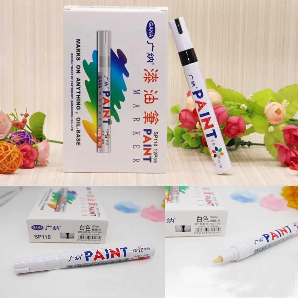 1PC צבע קבוע מרקר עט שמנוני עמיד למים שחור עט עבור צמיג סמני מהיר ייבוש חתימת עט אספקת נייר מכתבים