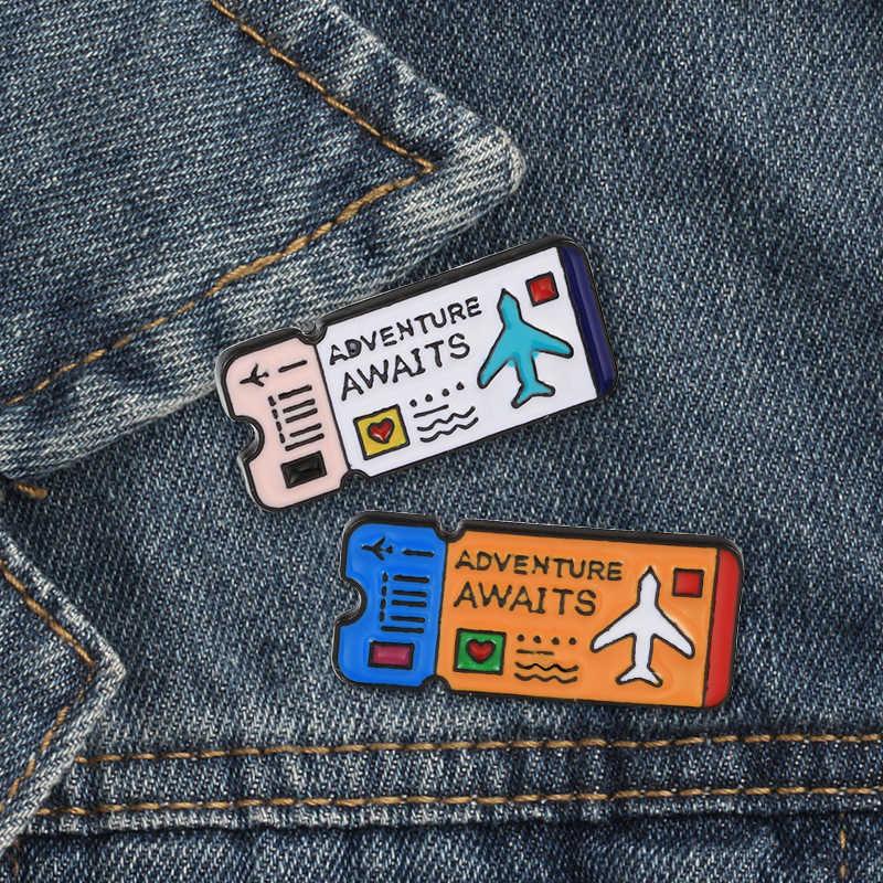 2-4 Teile/satz Kreative Reise Ticket Emaille Pins Schädel Blumen Cartoon Katze Taste Brosche Revers Pin Denim Jacken Abzeichen schmuck Geschenk