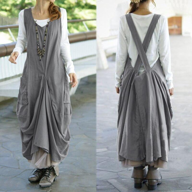 Plus Size Vintage Pleated Dress ZANZEA Women's Sundress Female V Neck Sleeveless Midi Dresses Kaftan Casual Suspender Vestidos