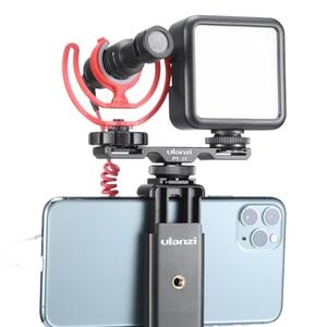 Image 2 - Ulanzi PT 2S DSLR Kamera Verlängern Dual Kalt Schuh Halterung Smartphone Vlog Montieren Platte Mikrofon LED Licht Halter