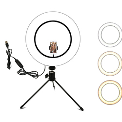 Кольцевой светильник 10,2 дюйма со штативом и держателем для телефона для фото-и видеосъемки, светодиодная камера со штативом и держателем дл...