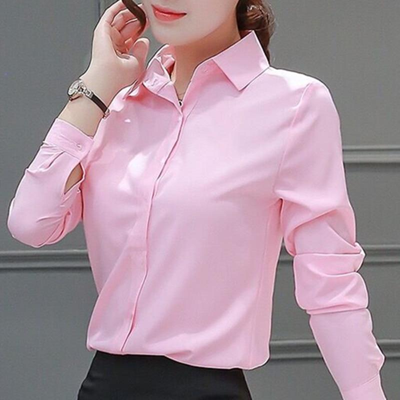 Womens Blouses Cotton Tops And Blouses Casual Long Sleeve Ladies Shirts Pink/White Blusas Plus Size XXXL/5XL Blusa Feminina Tops