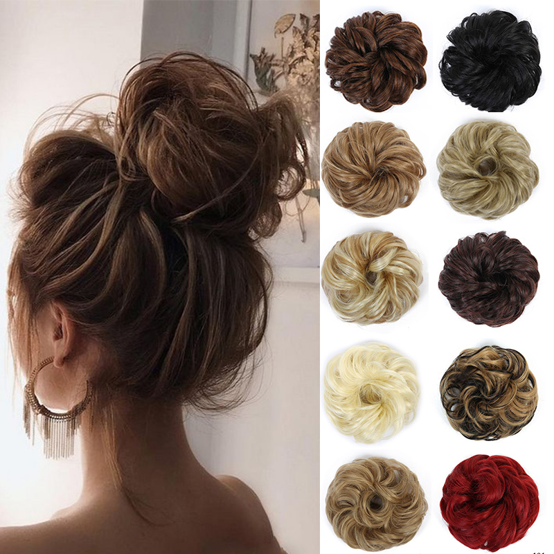 LUPU Curly Messy Chignon With Rubber Band Synthetic Hair Extensions Black Brown Donut Hair Bun High Temperature Fiber Hairpieces