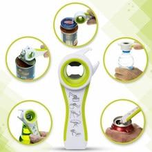 Abridor de latas de plástico de acero inoxidable 5 en 1, herramienta Manual de cocina multifunción para abrir botellas de cerveza