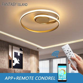 люстра потолочная Modern led ceiling light in the bedroom living room aluminum brushed gold creative rings  nordic design lamp