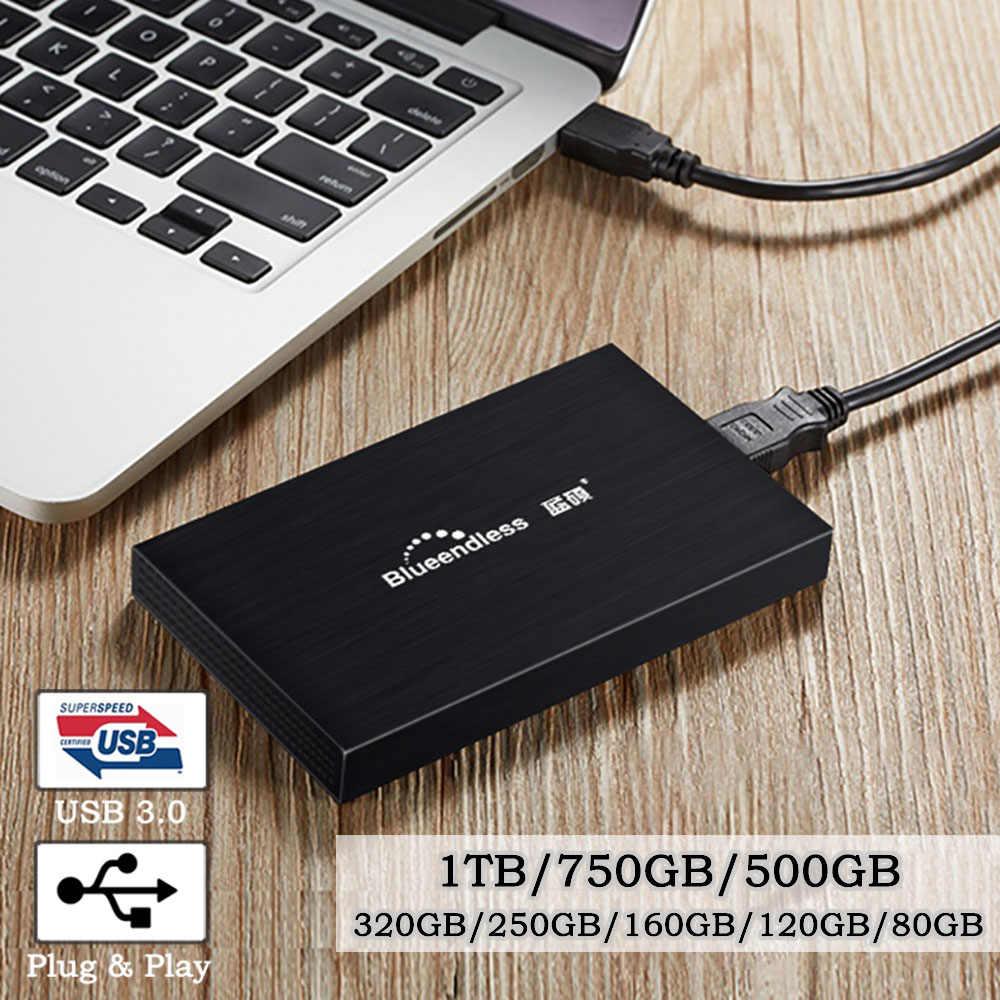 HDD Portabel 2.5 Hard Drive Eksternal USB3.0 Disco Duro Externo Hard Disk 1TB 750GB 500GB 320GB HD Externo Kotak Penyimpanan untuk PS4 PC