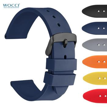 WOCCI Silicone Soft Rubber Sport Watchband 18mm 20mm 22mm Black Yellow Blue Generic Watch Band Amazfit Bip Strap
