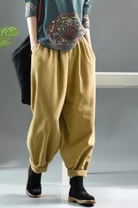 Image 5 - Women Pants Autumn Winter Large size Corduroy Loose Trousers 2019 New Elastic Waist pocket Casual Ladies Fashion Pants