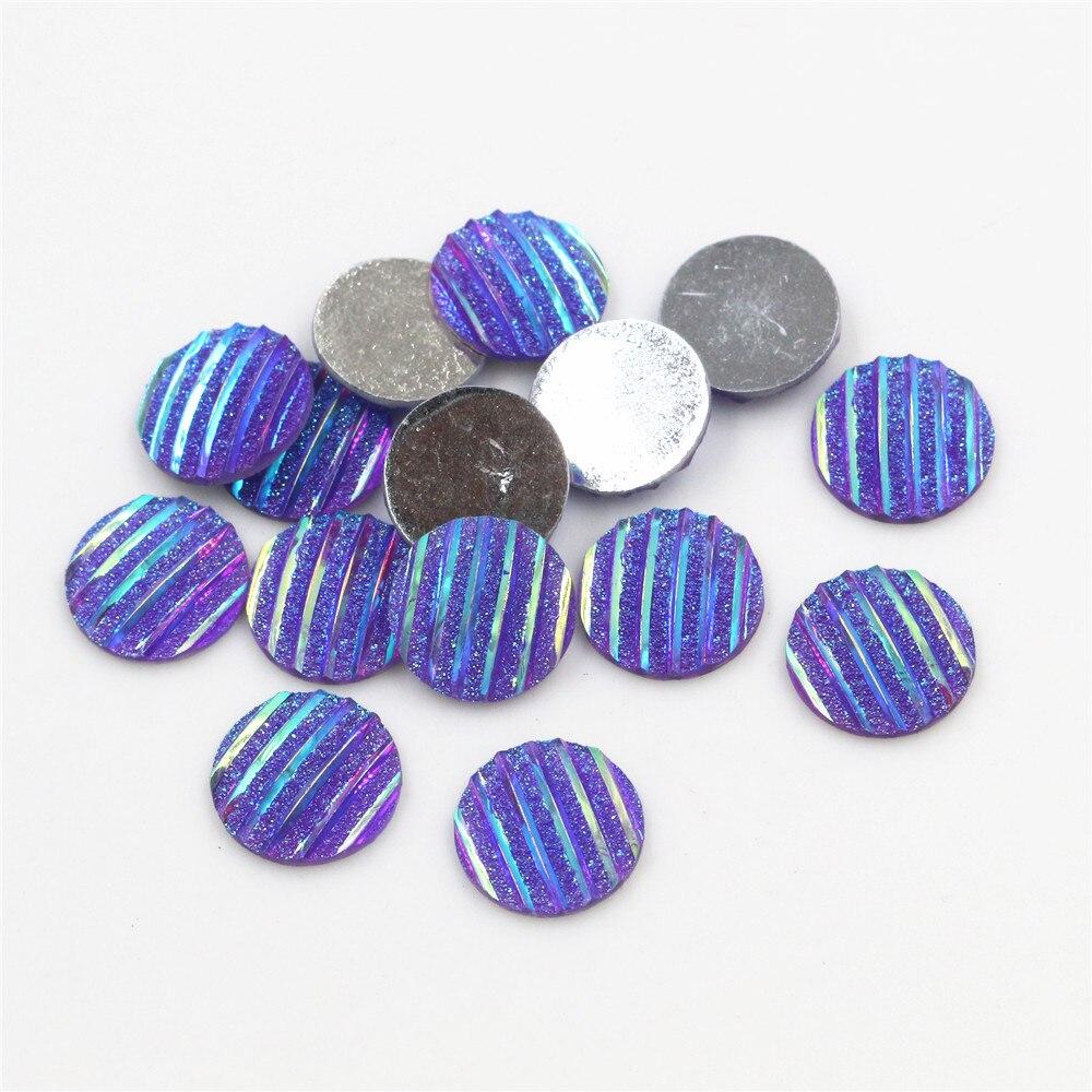 New Fashion 40pcs 12mm Dark Purple AB Scrub Stripe Horizontal Line Flat Back Resin Cabochon For Bracelet Earrings Accessories