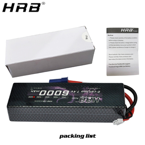 Image 4 - HRB Lipo סוללה 2S 7.4V 6000mAh 60C XT60 T דיקני TRX EC5 XT90 RC חלקי מקרה קשה עבור Traxxas מטוסי מכוניות סירות 4x4 1/8 1/10