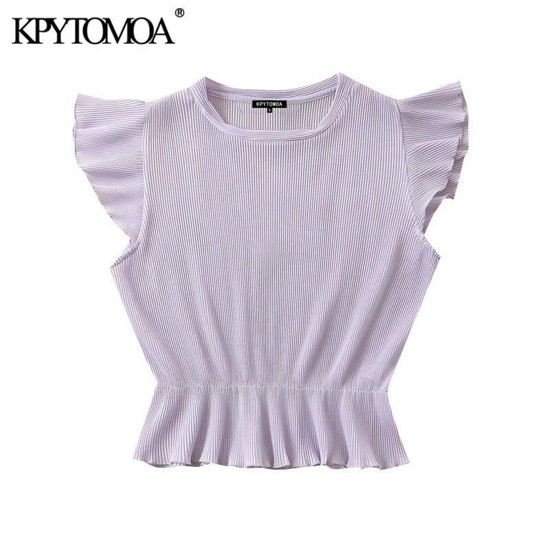 KPYTOMOA Women 2020 Sweet Fashion Ruffled Pleated Blouses Vintage O Neck Sleeveless Female Shirts Blusas Chic Tops