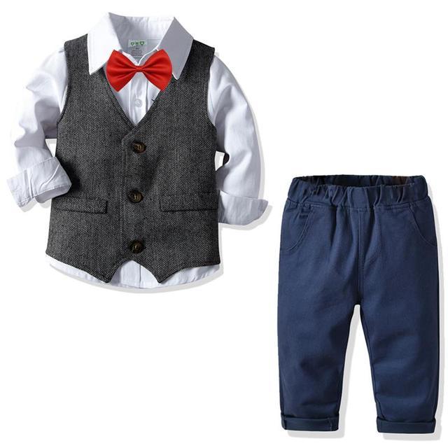 Toddler Boy Gentleman outfit Shirt + Jeans 2