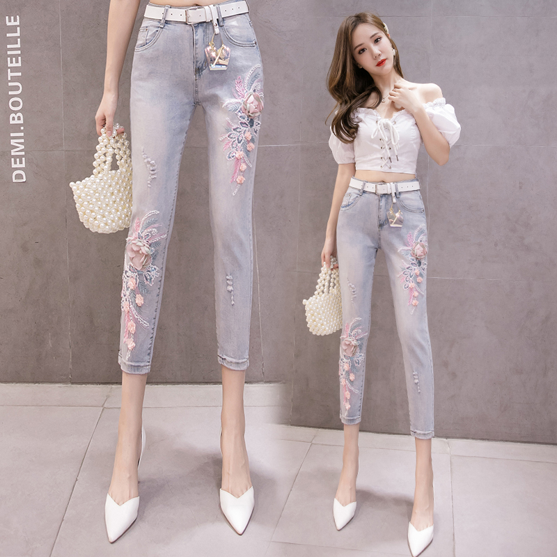 Make New Spring Embroidery Flower High Waist Elastic Thin Nine Minutes Of Pants Jeans Women