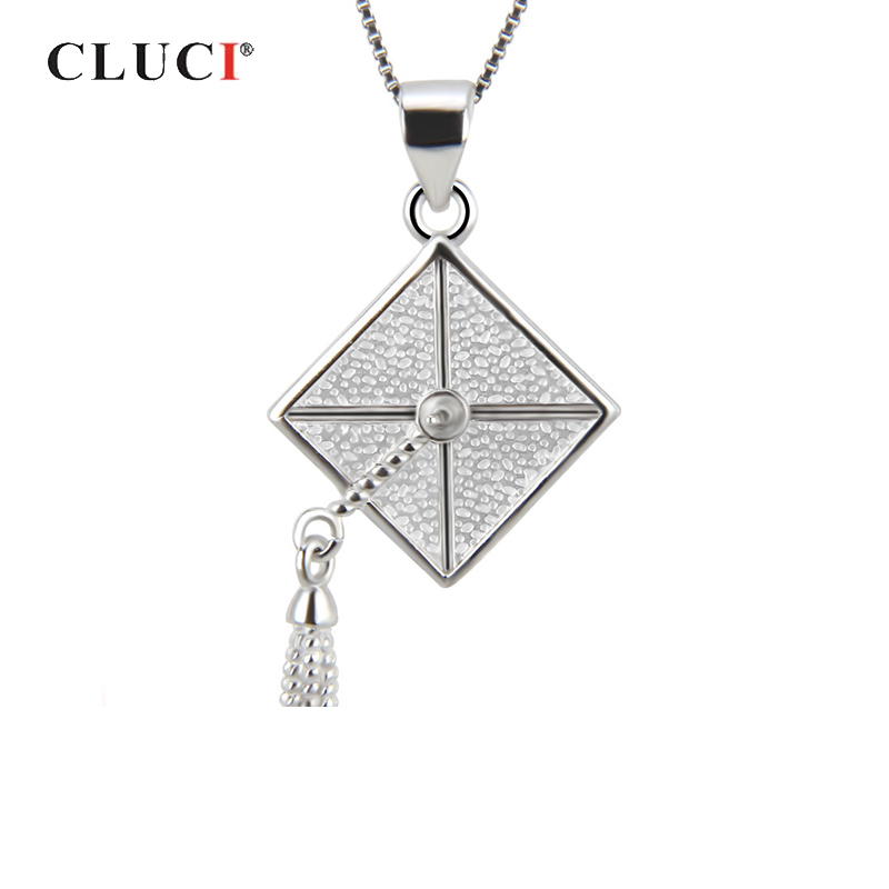 CLUCI 925 Sterling Silver Trencher Cap Charms Pendant For Graduation Silver 925 Women Pendant Jewelry Pearl Pendant Mounting