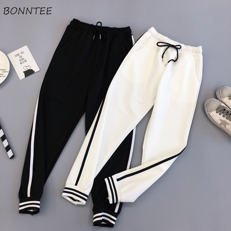 Pants Women Striped Pockets Drawstring Korean Style Leisure All-match Womens Summer High Waist Female Loose Trousers Chic 2020