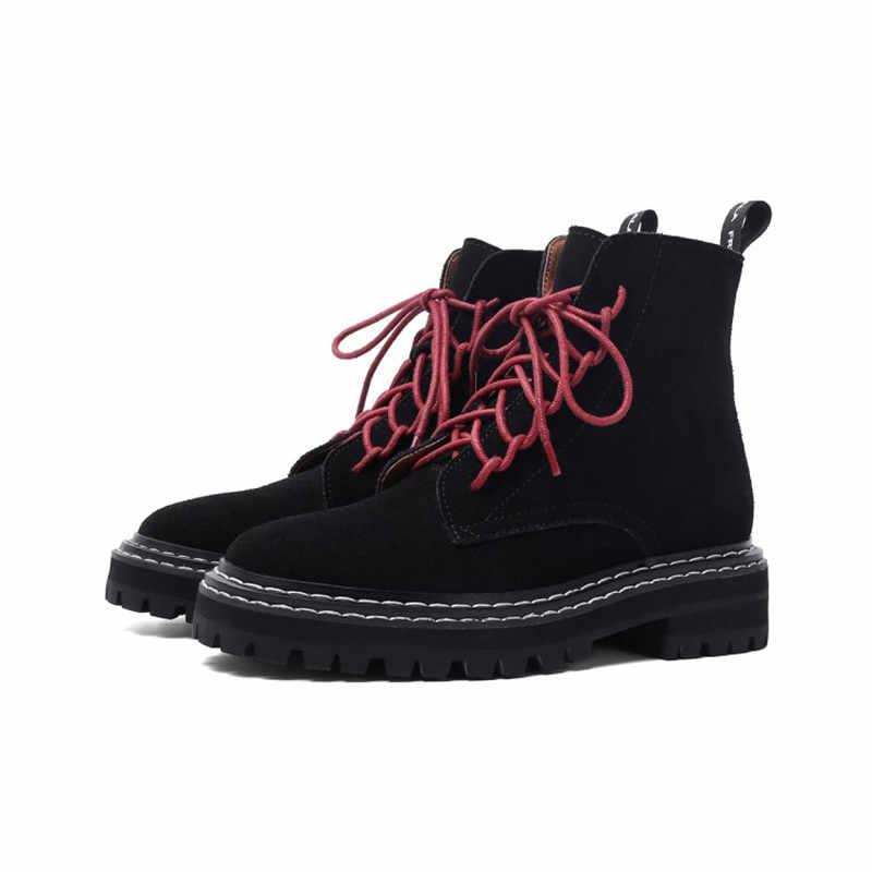 MStacchi Real Lederen Laarsjes Botas Feminina Ronde Neus Rits Laarzen Vrouwen Lage Hak Enkel Schoenen Verhogen Comfortabele Lederen Schoen