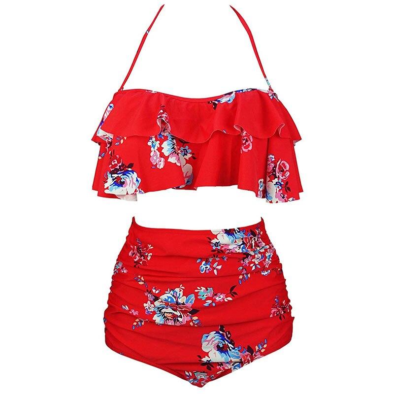 H99780f915b0f4daf98ecf800fadb40e22 2019 New Bikinis Women Swimsuit High Waist Bathing Suit Plus Size Swimwear Push Up Bikini Set Vintage Beach Wear Biquini