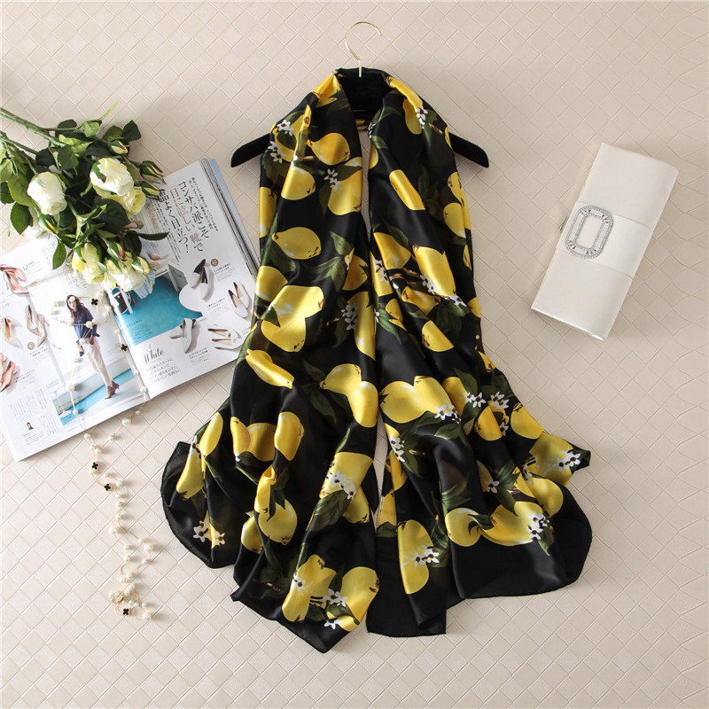 2019 New Style Women Beach Nice Quality Beautiful Flower Shawl Silk Lady Autumn And Winter Fashion Popular Print Scarves Hijab