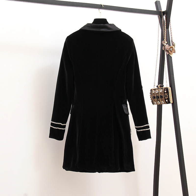 European Blazer Dress Women 2019 Autumn Pentagonal Star Drill Gold Velvet Satin Double Row Buckle Suit Small Fragrant Wind Coat