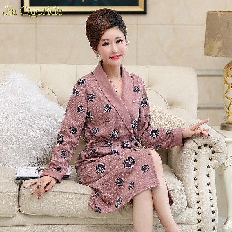 Sleepwear Robe Women's Housecoat Cotton Long Sleeves Plus Size Bath Robe Cartoon Printing Lingerie Robe Woman Bathrobe Kimono