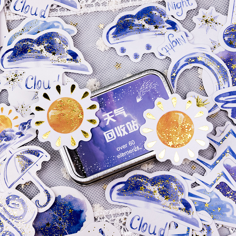 Weather Recycling Station Gilding Iron Box Decorative Stickers Scrapbooking Stick Label Diary Stationery Album Stickers