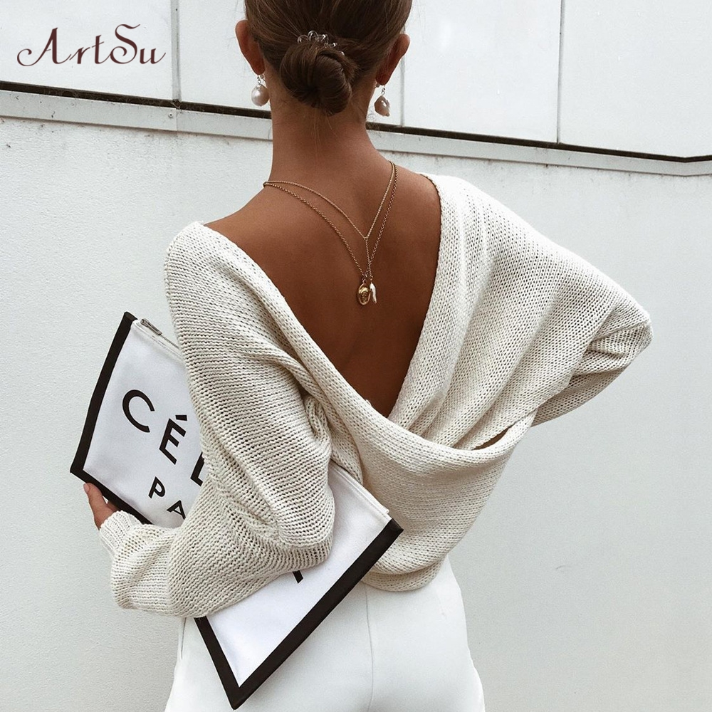 ArtSu 2019 Autumn Criss Cross Knitted Sweaters Casual Solid Loose Pullover Women V-Neck Batwing Sleeve Pullovers Top ASSW60339