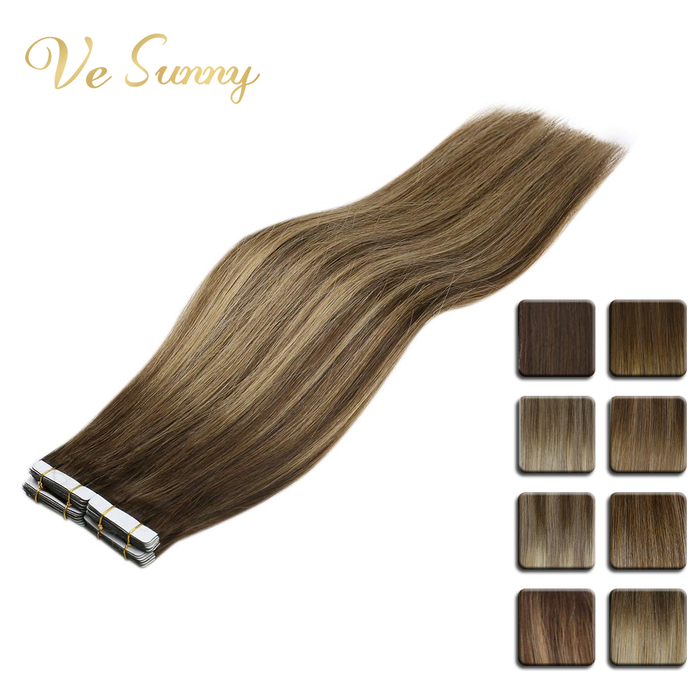 VeSunny Tape In Hair Extensions Human Hair 20pcs Chocolate Brown Light Brown Root Balayage Color Ombre Highlights