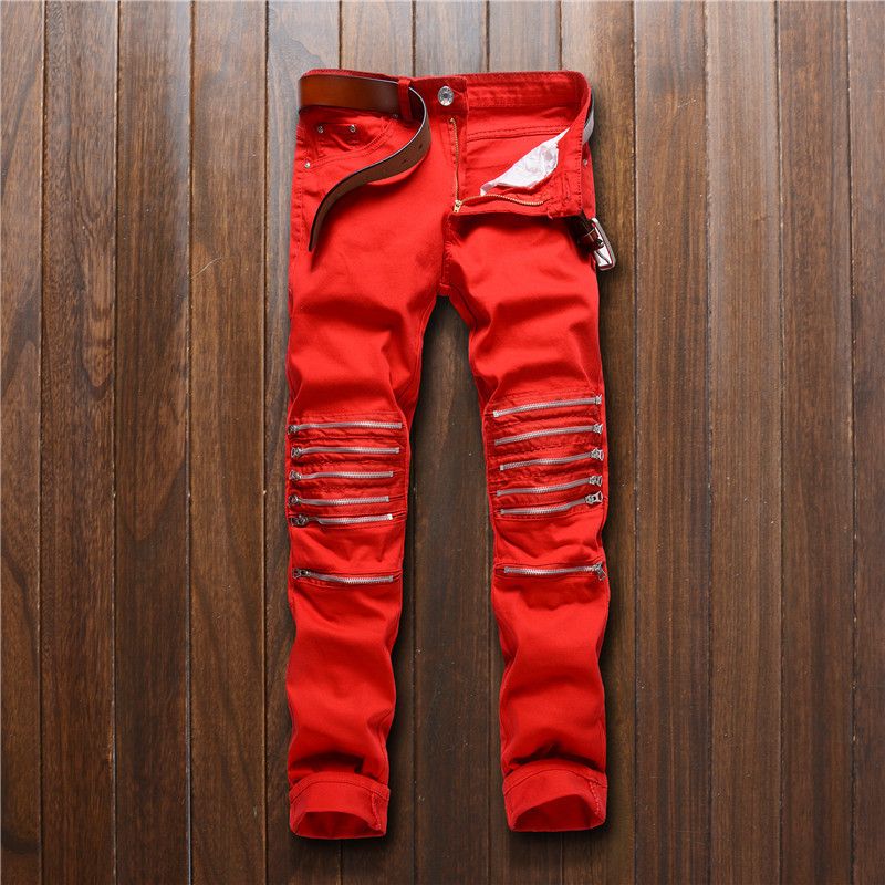 New Men's Casual Slim Body Broken Hole Motorcycle Zipper Cotton Jeans Fashion Europe US Style Small Legs Dropshipping Pants