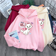 Marie Katze DisneyCute Kawaii Hoodies Cartoon Frauen Hoodies Cartoon Tops Langarm Taschen Sweatshirts Modus Mit Kapuze Frauen