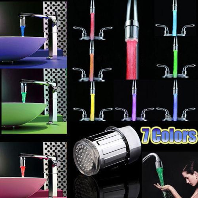 Drop Shipping LED Water Faucet Home & Kitchen TE Light Shower Colorful Tap Nozzle Creative Bathroom Accessories Faucets 7