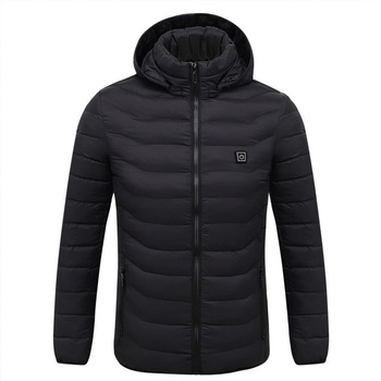 Puimentiua Mens Women Heated Outdoor Parka Coat USB Electric Battery Heating Hooded Jackets Warm Winter Thermal Jacket 8