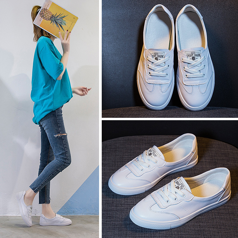 Sneakers Women Leather 2020 Spring Models Casual Shoes Flat Bottom Wild Shoes Spring Shallow Shoes Breathable Small White Shoes