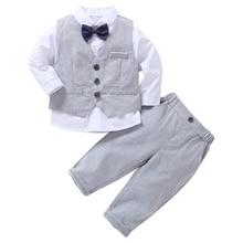 AmzBarley/костюмы для маленьких мальчиков комплект одежды из 3 предметов: рубашка+ жилет+ брюки детский Блейзер строгие свадебные костюмы джентльмена Одежда для младенцев
